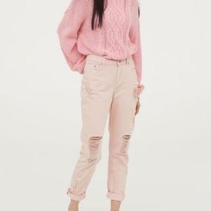 H&M pink boyfriend destroyed jeans